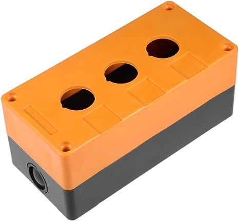 sourcing map Interruptor de botón de la Caja de Puesto de Control de 3 Botones de 22mm Agujero Negro Amarillo Impermeable: Amazon.es: Deportes y aire libre