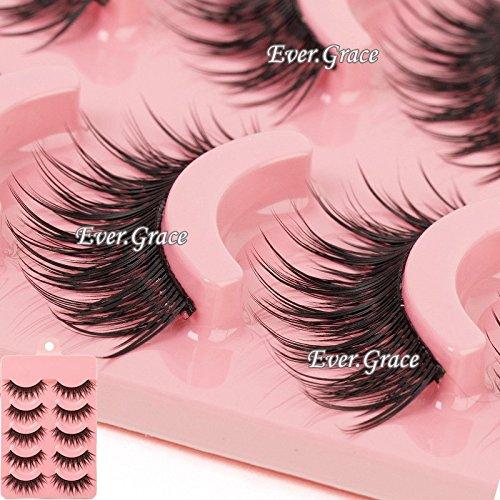 False Eye (Makeup 5 Pairs Natural Long Fake Eye Lashes Handmade Thick False Eyelashes Black)