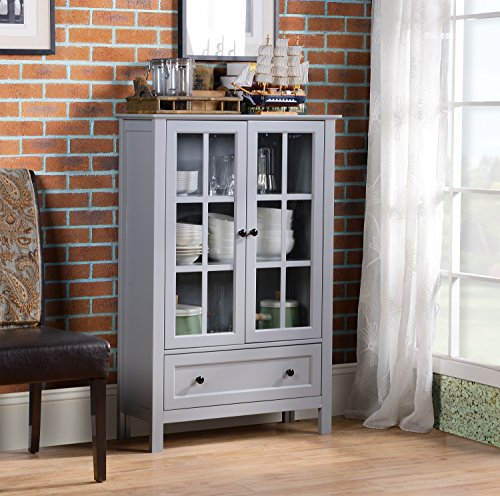 Homestar  2-Door/ 1-Drawer storage with Glass Cabinet, 11.77 x 31.5 x 47.25 - Inches, Grey
