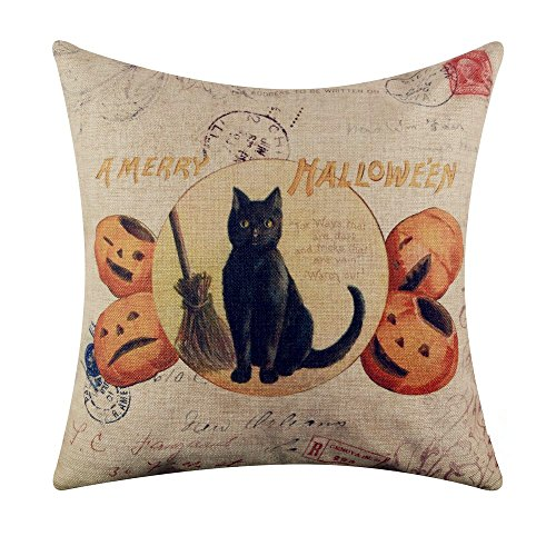 Acelive 16 x 16 Inches Cotton Linen A Merry Halloween Black Cat and Pumpkin Burlap Throw Cushion Cover Pillowcase For Sofa -