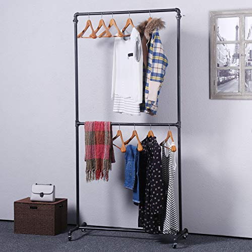 Double Pipe - Ucared Industrial Pipe Clothing Rack Heavy Duty Double Row,Garment Rack Commercial Grade,Clothing Rack on Wheels,Vintage Clothes Retail Displays Rack Hanging Rack, Black Brush Silver