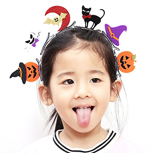 Kangkang@ 6 PCS Kids Adults Hair Head Clips Kit Bat Pumpkin Ghost Cat Hat Pins Halloween Decoration Costume Headdress Accessories]()