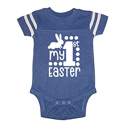 Mashed Clothing Unisex-Baby - My 1st Easter (Number 1) Easter - Football Style Baby Bodysuit (Royal, 12 Months)