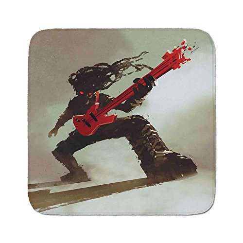(Cozy Seat Protector Pads Cushion Area Rug,Fantasy,Rocker Guitarist Playing Bass Headbanging Hipster Rock Display Red Eyes Art Print,Red Grey,Easy to Use on Any Surface)