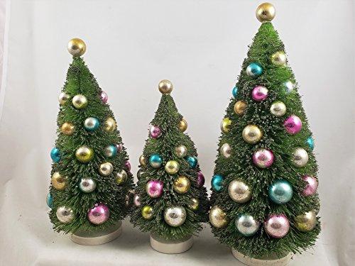 Green Bottle Brush Trees Set of 3 vintage-style Christmas Pastel Shade Ornaments