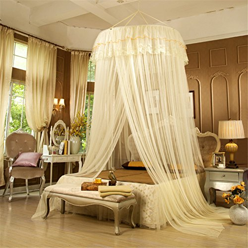 Romantic Hung Dome White Yellow Mosquito Net Princess Round Canopy Netting Curtain For Double Bed-One Opening (Shelter Screenhouse 10)