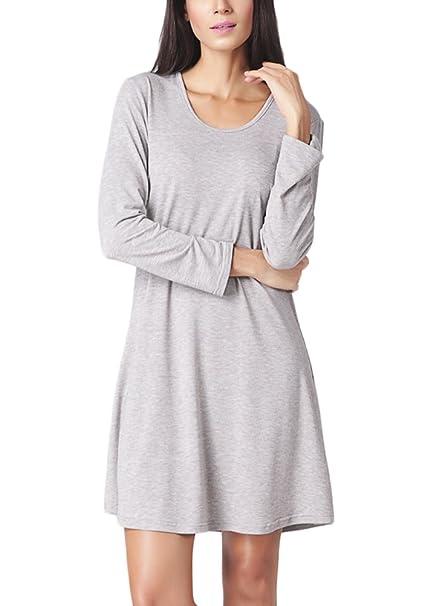 917f54287d2e Vestiti Donna Eleganti Autunnale Abito Ragazza Corti Camicia Vestito  Rotondo Collo Manica Lunga Abiti Puro Colore Baggy Linea Ad A Vestitini  Moda Casual ...