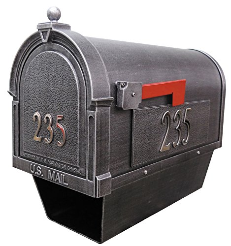 Berkshire SCB-2015-DX-SW Berkshire Curbside Mailbox with Paper Tube with Front and Side Numbers-Swedish Silver