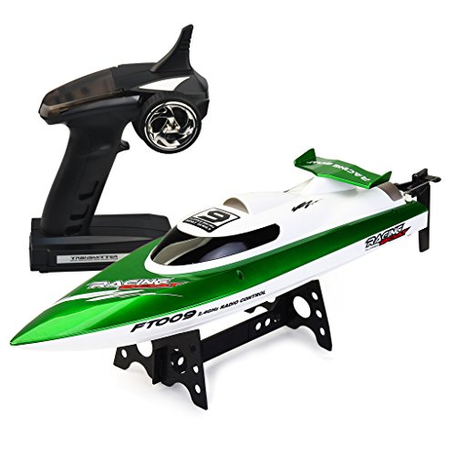CSFLY Rc Boat 4CH 2.4Hz Remote Control Rechargeable High Speed Racing Boat(Only Works In Water) -Green