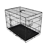 Pet Cage 2 Door Crate Carrier Transport With Plastic Tray & Carry Handle For Dogs Cats Rabbits Pets Car Travel Home Black Metal - Medium