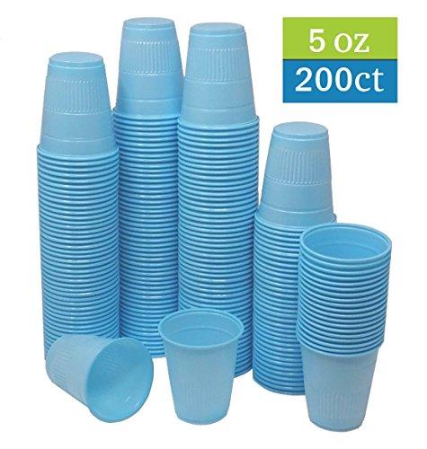 TashiBox 5 oz disposable blue plastic cups - 200 count - drinking cups, bathroom cups, dental cups.