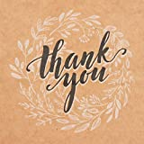 Kraft Paper Bags Bulk with Handles and Printed Thank-You Design for Gifts, Wedding Welcome, Merchandise, Party, Reception, Business, Craft Fair, Goodies, Retail | Set of 50 pcs, Medium 8x4.75x10 inch