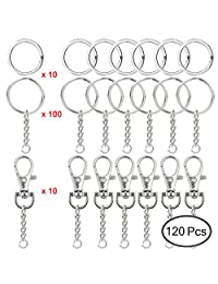 SENHAI 100 Pcs Split Key Rings, 10 Pcs Swivel D Hook Lobster Claw Clasps & 10 Flat Keychain Rings, Metal Keyrings with Chain and Jump Rings Silver Rings Jewelry Findings Making