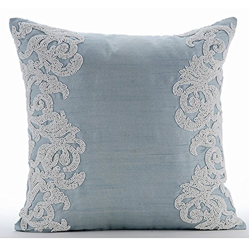 Luxury Light Blue Throw Pillows Cover, Beaded Boroque French