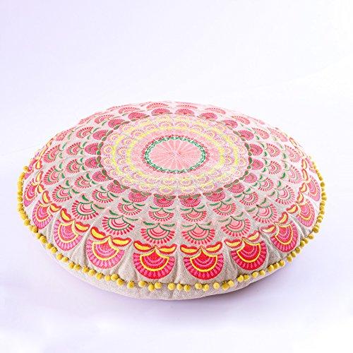 Mandala Life ART Bohemian Floor Cushion –Luxury, Artisan Room Décor Pouf for Meditation, Yoga, and Boho Chic Seating Area Floor Pillow – – Handmade in India by by Mandala Life ART