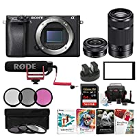 Sony Alpha a6500 Digital Camera w/ SELP1650 16-50mm & SEL55210B 55-210 Zoom Lenses & Rode Video Mic GO Bundle