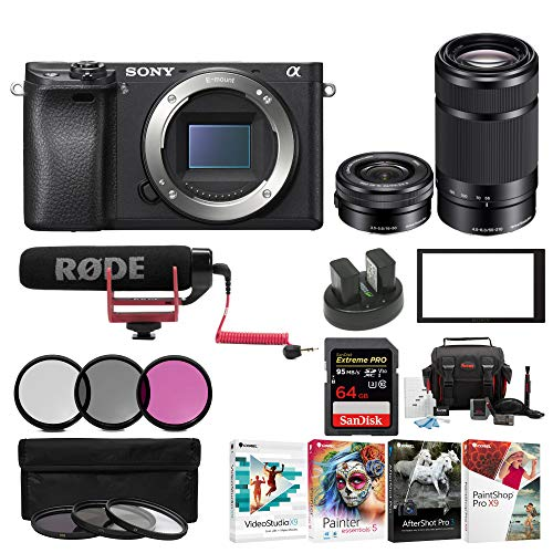 Sony Alpha a6500 Digital Camera w/ SELP1650 16-50mm & SEL55210B 55-210 Zoom Lenses & Rode Video Mic GO Bundle Review