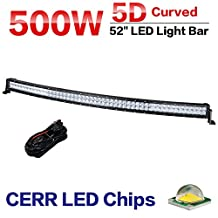 Racbox 52 inch 5D LED Curving Curved Light Bar Combob Beam 12V 24V 50000Lm Off Road Fog Light Driving Lamp for ATV Truck SUV Jeep Boat