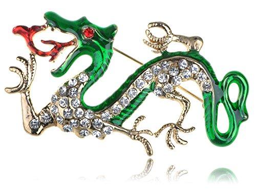 Alilang Golden Tone Clear Rhinestones Green Fire Zodiac Dragon Brooch Pin