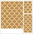 Abrahami Sultan 3-piece Area Rug Set Beige Trellis -Includes Area Rug -Runner - Scatter Rug 5012