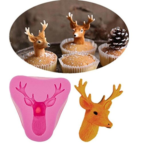 Cake Mold Christmas 3D Head Mold Christmas Deer Silicone Mould Fondant Cake Decorating Cake Mold Tool Cake Mold Deer (Pink)