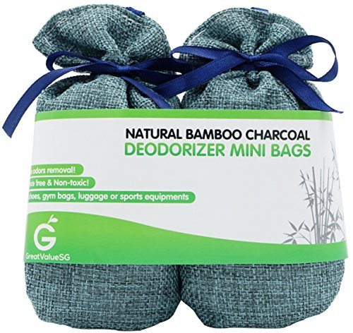 BUY MORE SAVE MORE Great Value SG Bamboo Charcoal Deodorizer Mini Bags, Best Air Purifiers for Smokers & Allergies, Perfect Air Fresheners for Shoes, Gym Bag, Locker & Small Space (Blue)