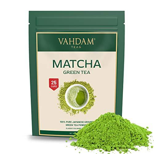 VAHDAM, polvo de te verde Matcha (50 g, 25 tazas), polvo de Matcha japones puro y sin mezclar 100% certificado | 137x Anti-OXIDANTES | Aumenta la energia, el enfoque y el metabolismo