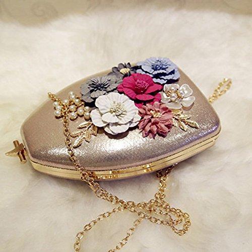 Flada mujeres noche bolsa de embrague pu bolso de hombro de cuero con cuentas Bolsa Monedero Negro Oro