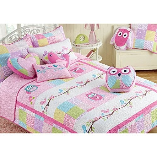 UKN Daybed Girls Pink Queen Owl 3 Piece Cotton Quilt Set, Animal Pattern, Patchwork Fabric, Color, Modern Themed Stylish Classic Elegant Contemporary Boho Chic Indie Sleek Fashion