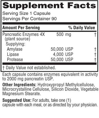 Pancreatic Enzymes 4x - Vegetarian, 500mg, 90 Veg Capsules