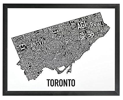 Ork posters framed toronto neighbourhoods map poster black x 11quot