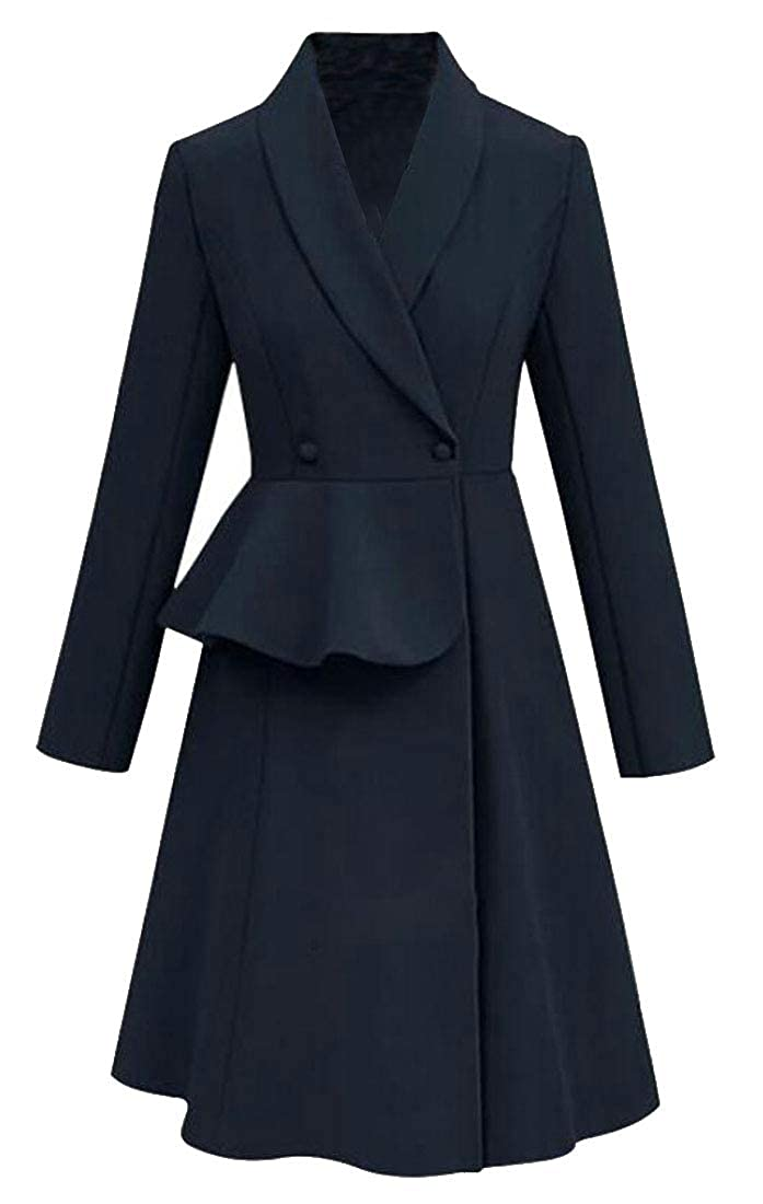 Women Elegant Winter Fall Lapel Peplum Slim Flared Trench Coats