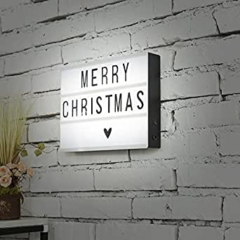 Home Decor DIY Cinema Light Box A4 Size with 170 Pcs Letters Symbols and Emojis USB Led Light Box for Kinds of Parties (Black and White-A4)