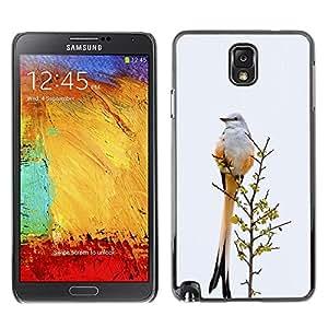 Plumas de la cola del pájaro gris invierno Ornitología- Metal de aluminio y de plástico duro Caja del teléfono - Negro - Samsung Note 3 N9000