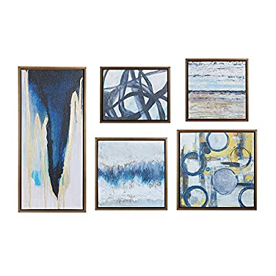 """Madison Park Wall Deco Bronze Blue Bliss Galary 5-Piece Set, Canvas in Decor Boxes, Abstract Style Framed Art, Natural - Panel Size - 1 Canvas: 19. 6""""W x 19. 6""""H x 1. 61""""D, 1 Canvas: 36. 6""""W x 16. 6""""H x 1. 61""""D , 1 Canvas: 21. 6""""W x 21. 6""""H x 1. 61""""D, 1 Canvas: 17. 6""""W x 17. 6""""H x 1. 61""""D, 1 Canvas: 15. 6""""W x 19. 6""""H x 1. 61""""D Product Features - High quality smooth rolled gel coated canvas 5 piece multi panels wall art which come in ready to hang bronze frame deco box. The 5 panels can be arranged according to your personal preference - wall-art, living-room-decor, living-room - 51B2cFpYeCL. SS400  -"""
