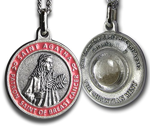 St Agatha Patron Saint of Breast Cancer Medal with Capsule of Catania Soil - Includes 18