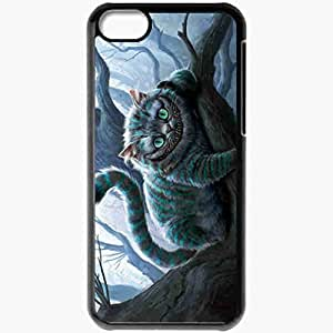 Personalized iPhone 5C Cell phone Case/Cover Skin Alice In Wonderland Cat Smile Black
