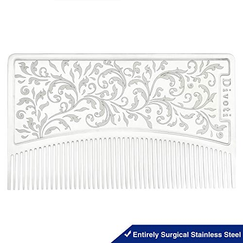 - Divoti Surgical Stainless Steel Credit Card Size Wallet Comb Perfect for Wallet & Pocket - Compact & Durable Hair & Beard Comb - EDC Comb - Filigree