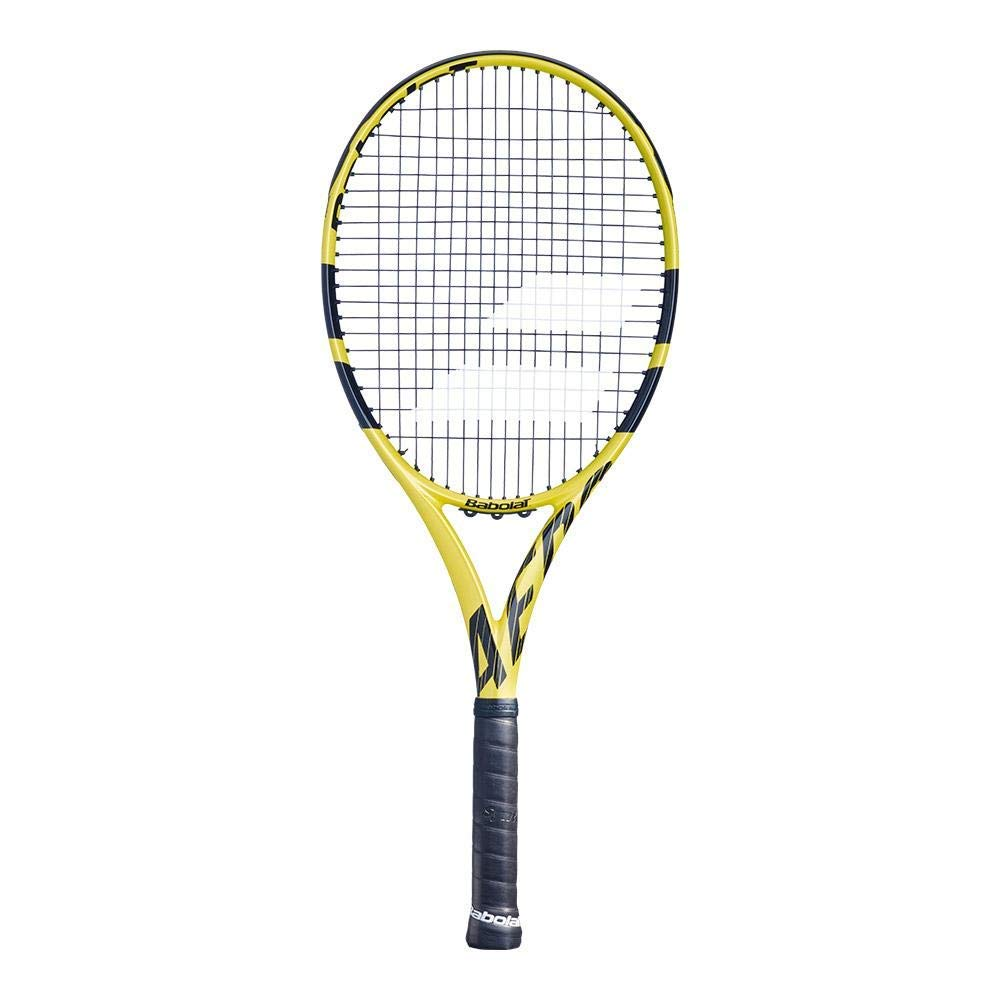 Babolat Aero G Tennis Racket (4 3/8'' Inch Grip) Strung with Babolat SG Spiraltek Synthetic Gut String in Black