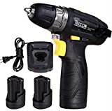 Cordless Drill Driver Sets, TECCPO Compact Drill Lightweight with 2pcs 2.0Ah Batteries, Fast Charger, 265In-lbs Torque, 20+1 Torque Setting, 3/8' Chuck, 2-Speed, LED Light, 29pcs Accessories - TDCD01P