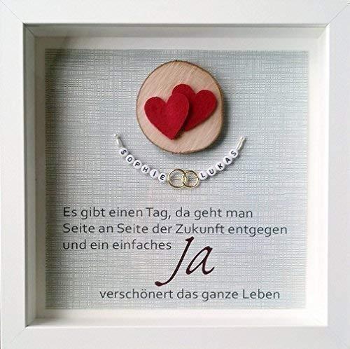 Hochzeitsgeschenk Personalisierbar Ringe Herzen Amazon De Handmade