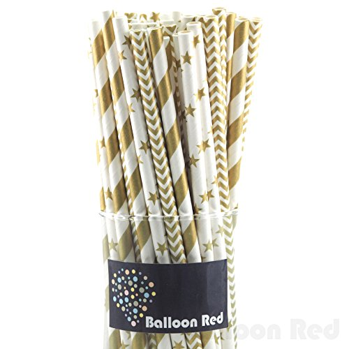 Biodegradable Paper Drinking Straws (Premium Quality), Pack of 75, Combo - Gold / Striped & Chervon & (Easy To Make Homemade Halloween Costumes)