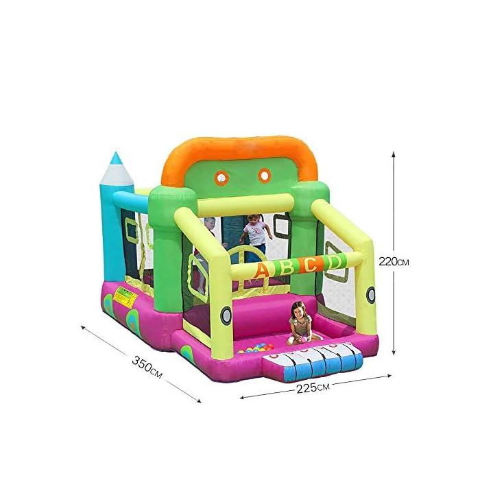 51B2d3NQgqL ▲ No tardará mucho en inflar y poner en funcionamiento su casa de rebote; ¡También son relativamente fáciles de desinflar y plegar a un tamaño compacto para almacenarla cuando ya no la necesite! BONIFICACIÓN: el castillo inflable de rebote viene con un soplador. ▲ Tamaño del material: tela oxford ecológica, PVC; 350x225x220cm; el castillo hinchable, la bolsa de agua y el soplador están incluidos en el paquete. ▲ Perfecto para regalos de cumpleaños, regalos de Navidad o para mantener a los pequeños ocupados en verano; ¡The Bouncer hará las delicias de todos los niños!
