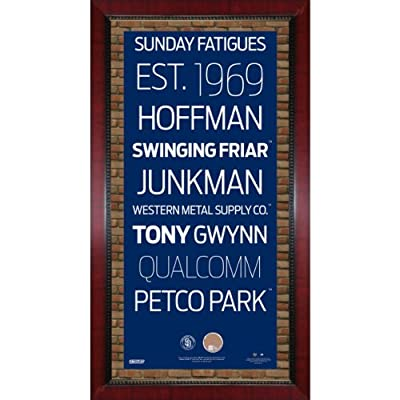 San Diego Padres Subway Sign Wall Art 16 Inch X 32 Inch Frame With Authentic Dirt From Petco Park.
