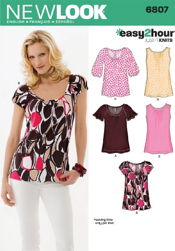 Simplicity Creative Group, Inc New Look Sewing Pattern 6807 Misses Knit Tops, Size A (8-10-12-14-16-18) (Knit Tops New Misses Look)