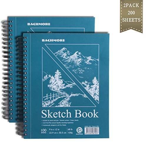 Bachmore Sketchpad 9X12'' Inch (68lb/100g), 200 Sheets of Spiral Bound Sketch Book For Artist Pro & Amateurs | Marker Art, Ink Art, Colored Pencil, Acrylic Paint, Charcoal For Sketching (2 Pack) by BACHMORE
