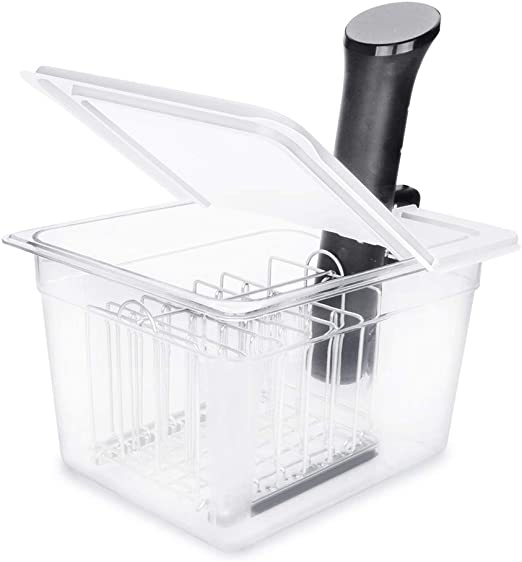 EVERIE Sous Vide Container 12 Quart with Collapsible Hinge Lid and Sleeve for Anova Nano or AN500-US00 Also Fits Instant Pot