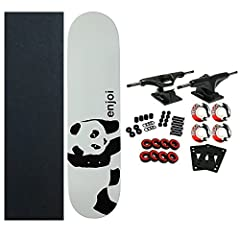 The Enjoi Whitey Panda deck features Resin 7 Construction. Resin 7 Construction uses 100% Canadian maple veneer with a specialized Epoxy resin Glue. These boards are individually pressed which helps insure you get the same concave and curvatu...