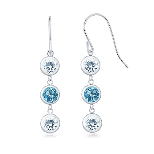 Gem Stone King 2.60 Ct Round Sky Blue Aquamarine Swiss Blue Topaz 925 Sterling Silver 3 Stone Dangle Earrings