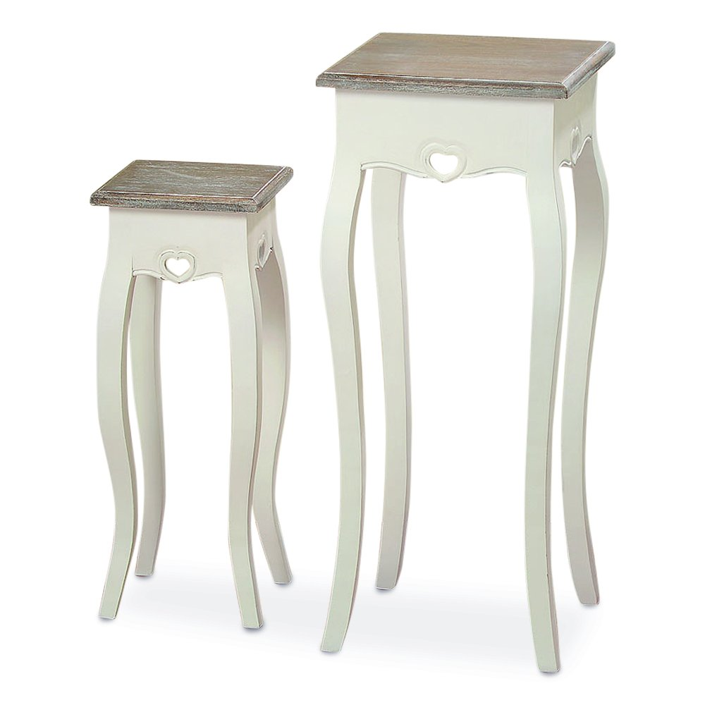 The French Country Style Pedestal Tables, Set of 2, Shabby Chic Distressed Finish, White, Wood, Dark Top, Over 2 Ft Tall,(31 and 23 1/2 Inches) By Whole House Worlds by Whole House Worlds